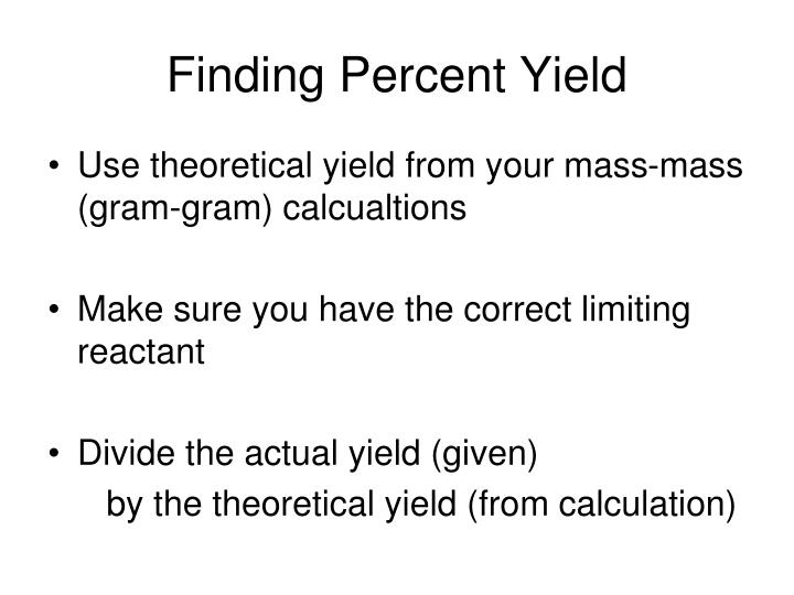 Finding Percent Yield