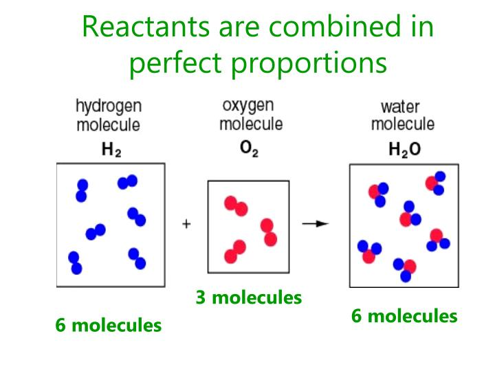 Reactants are combined in perfect proportions