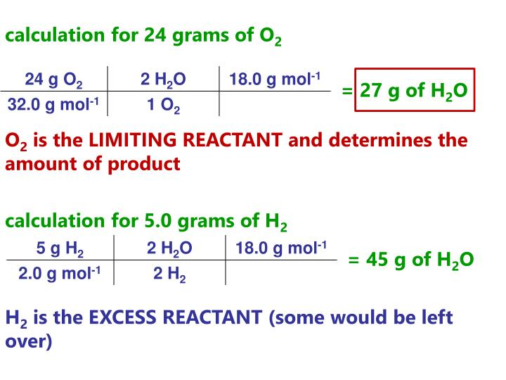 calculation for 24 grams of O