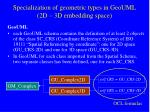 specialization of geometric types in geouml 2d 3d embedding space