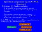 specialization of geometric types in geouml complexes