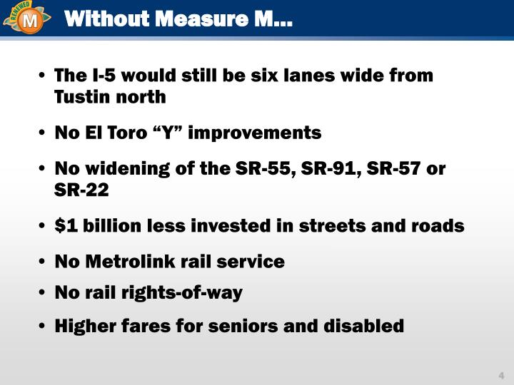 Without Measure M…