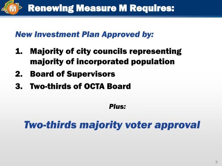 Renewing Measure M Requires: