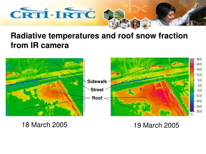 Radiative temperatures and roof snow fraction from IR camera