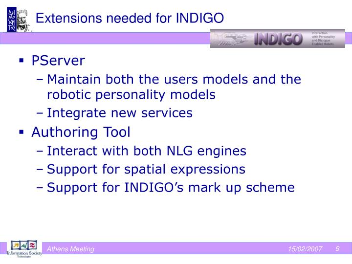 Extensions needed for INDIGO