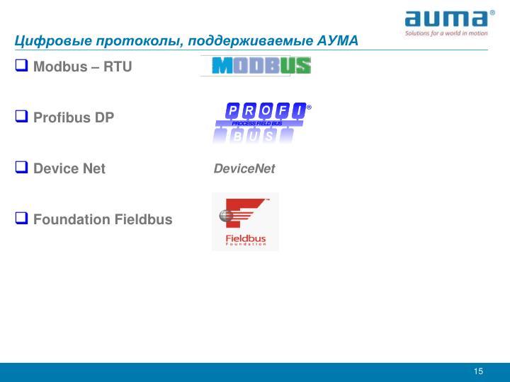 Цифровые протоколы, поддерживаемые АУМА