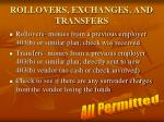 rollovers exchanges and transfers