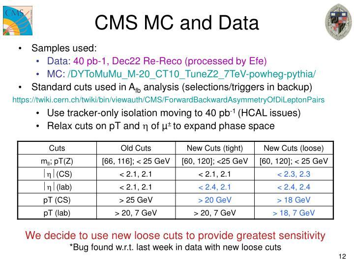 CMS MC and Data