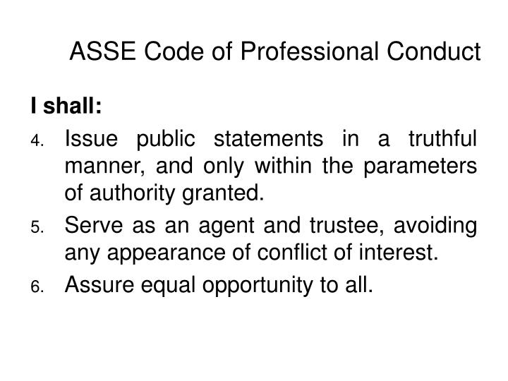 ASSE Code of Professional Conduct