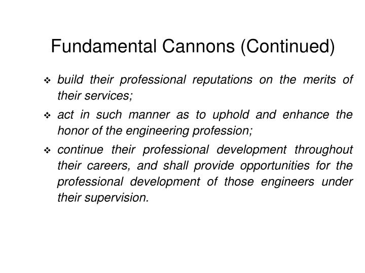 Fundamental Cannons (Continued)
