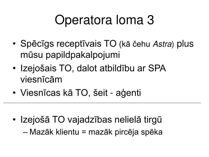 Operatora loma 3