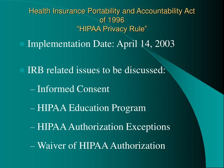 hipaa health the privacy rule and