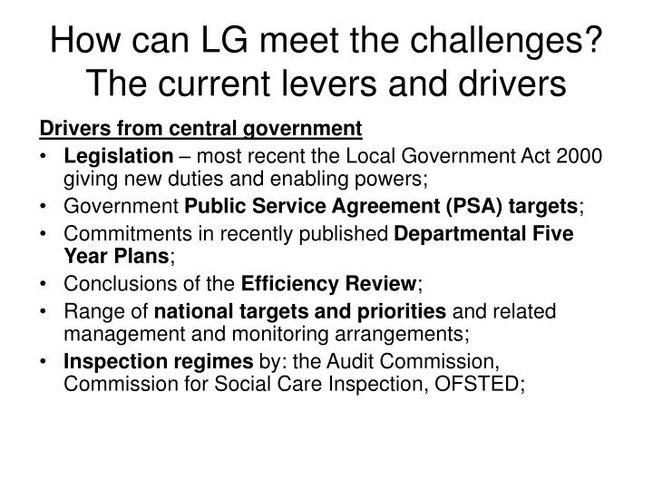 How can LG meet the challenges? The current levers and drivers