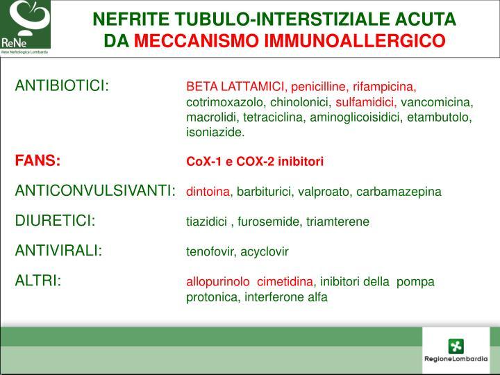 NEFRITE TUBULO-INTERSTIZIALE ACUTA