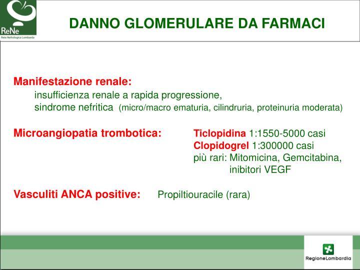 DANNO GLOMERULARE DA FARMACI