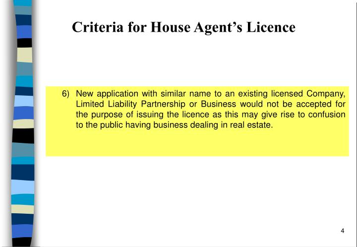 Criteria for House Agent's Licence