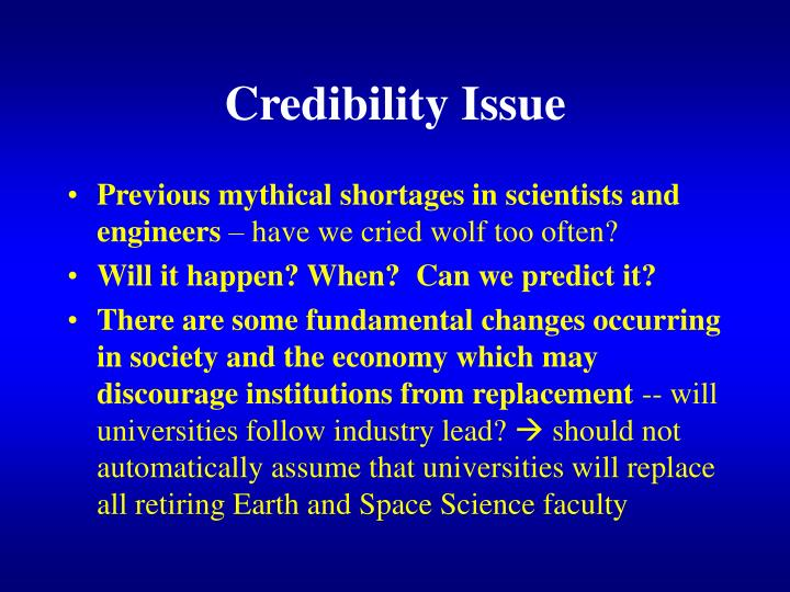 Credibility Issue
