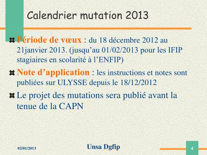 Calendrier mutation 2013