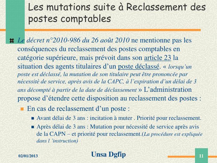 Les mutations suite à Reclassement des postes comptables