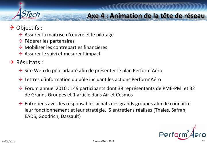 Axe 4 : Animation de la tête de réseau