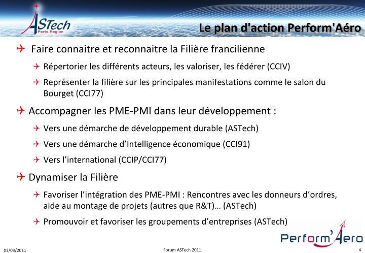 Le plan d'action Perform'Aéro