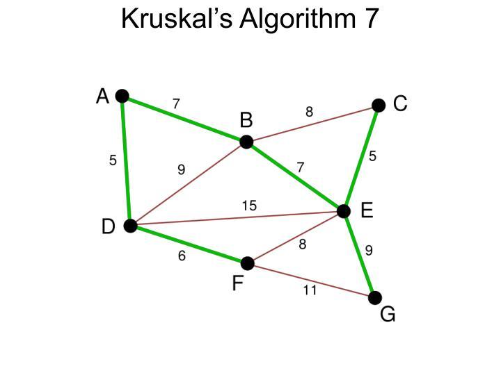 Kruskal's Algorithm 7