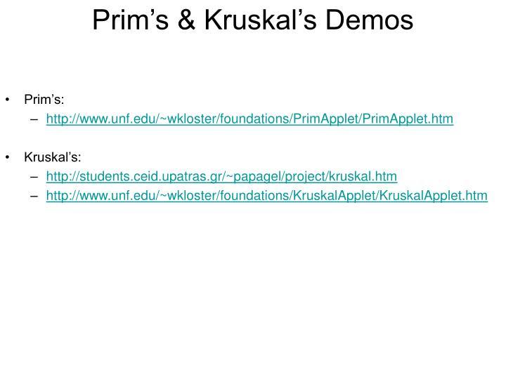 Prim's & Kruskal's Demos