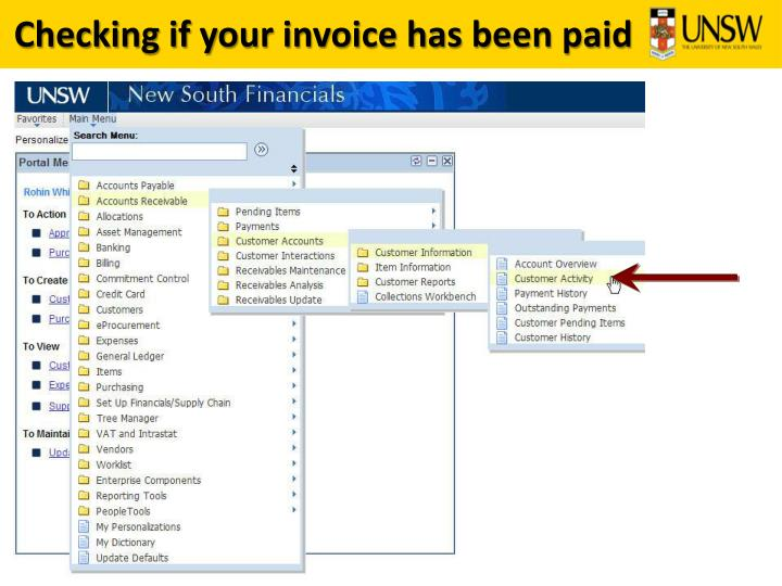 Checking if your invoice has been paid