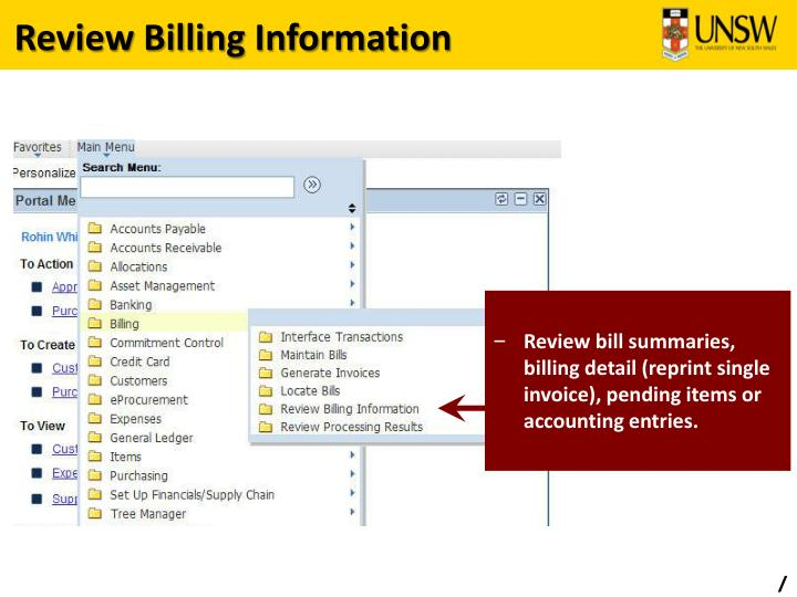 Review Billing Information