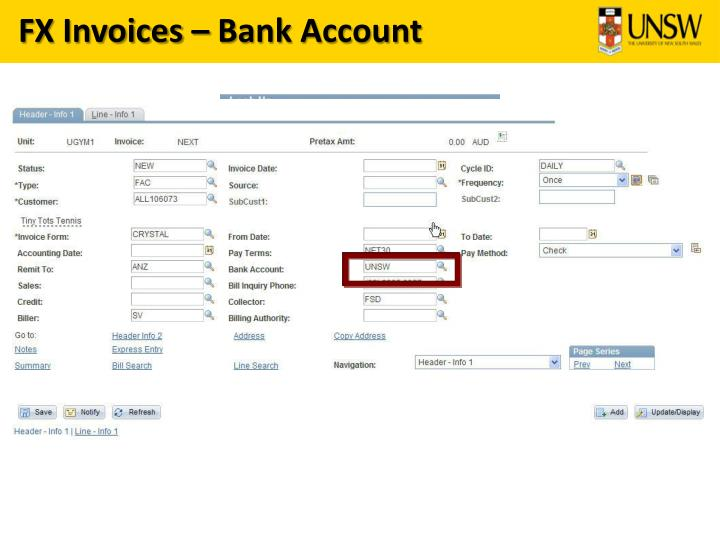 FX Invoices – Bank Account