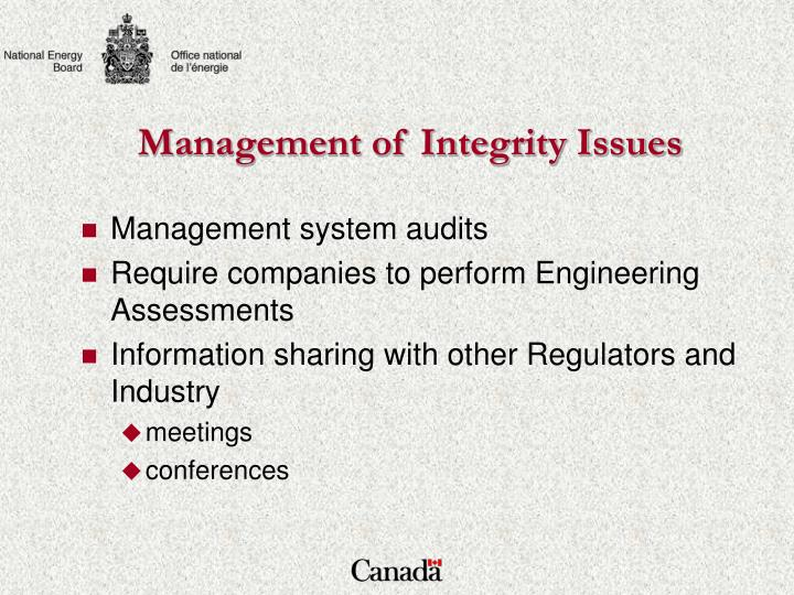 Management of Integrity Issues