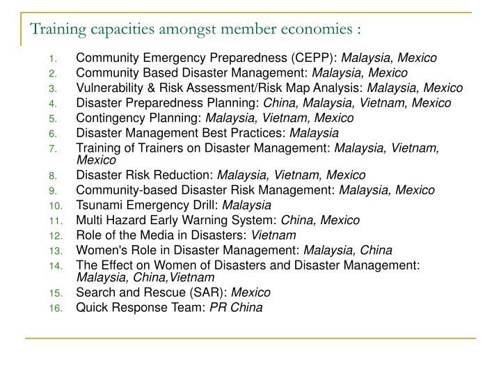 Training capacities amongst member economies :
