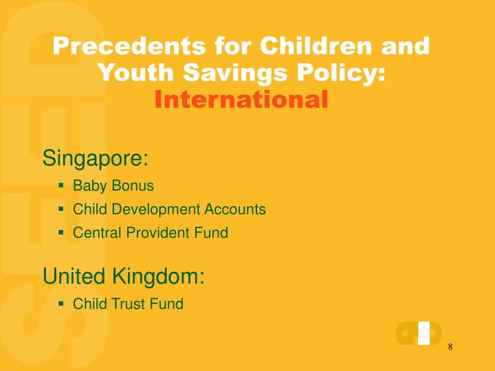 Precedents for Children and Youth Savings Policy: