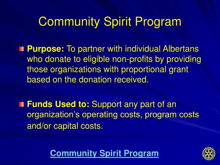 Community Spirit Program