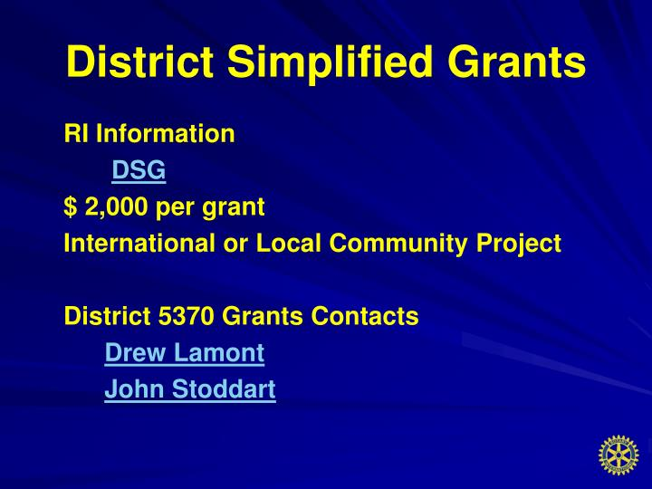 District Simplified Grants