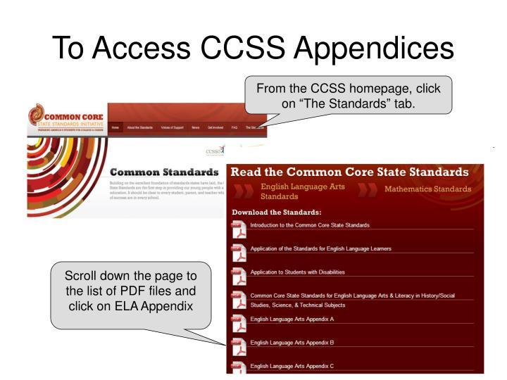 To Access CCSS Appendices