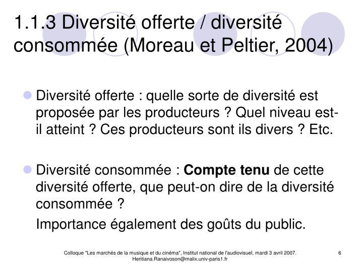 1.1.3 Diversité offerte / diversité consommée (Moreau et Peltier, 2004)