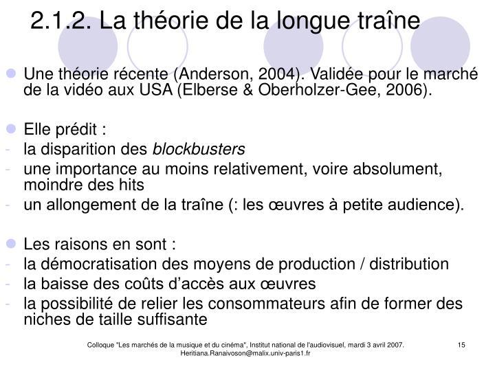 2.1.2. La théorie de la longue traîne