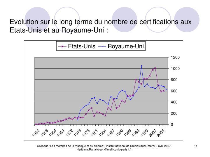 Evolution sur le long terme du nombre de certifications aux Etats-Unis et au Royaume-Uni :