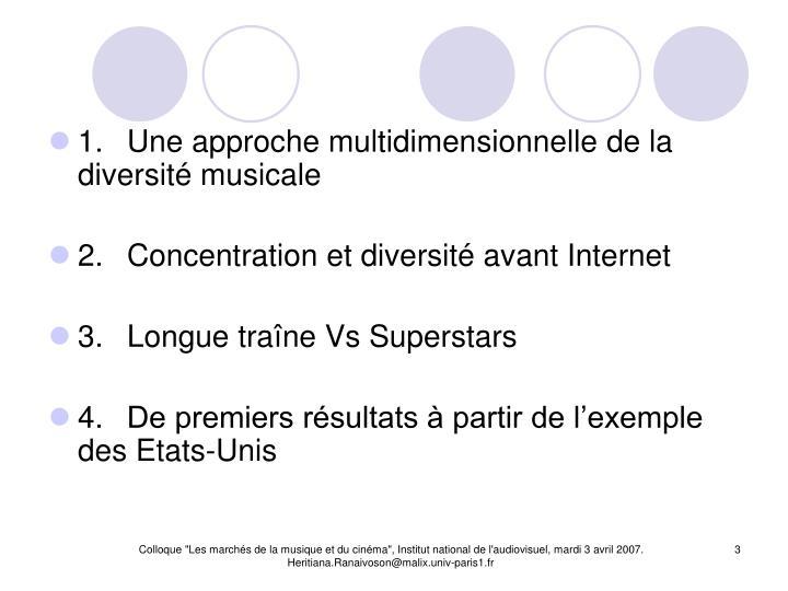 1.Une approche multidimensionnelle de la diversité musicale