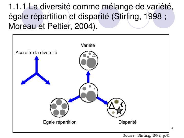 1.1.1 La diversité comme mélange de variété, égale répartition et disparité (Stirling, 1998 ; Moreau et Peltier, 2004).