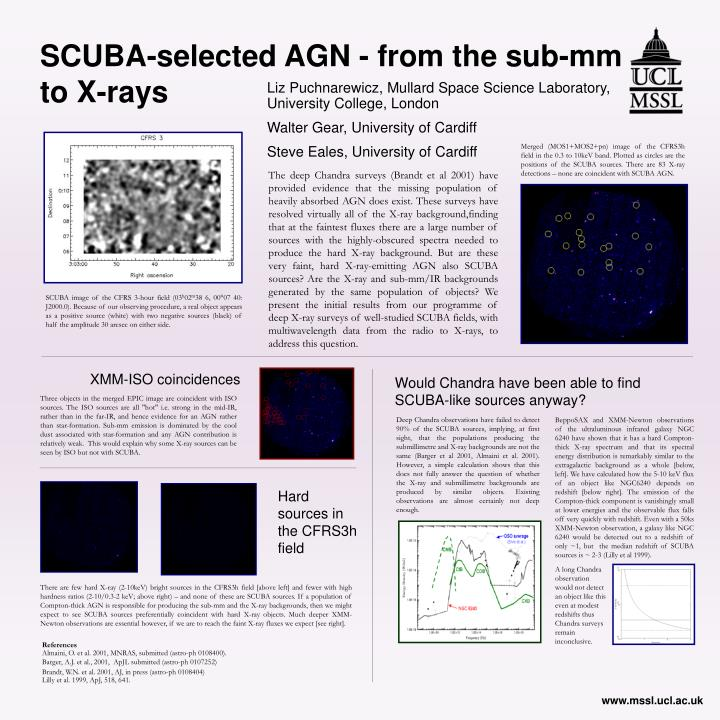 SCUBA-selected AGN - from the sub-mm to X-rays