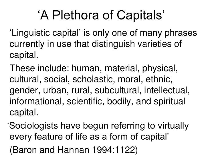 'A Plethora of Capitals'