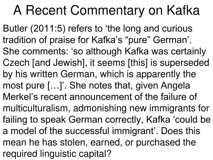 A recent commentary on kafka