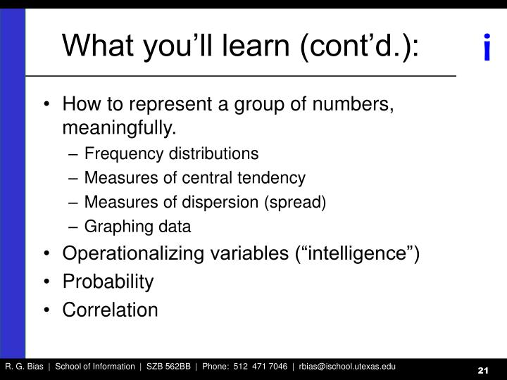 What you'll learn (cont'd.):