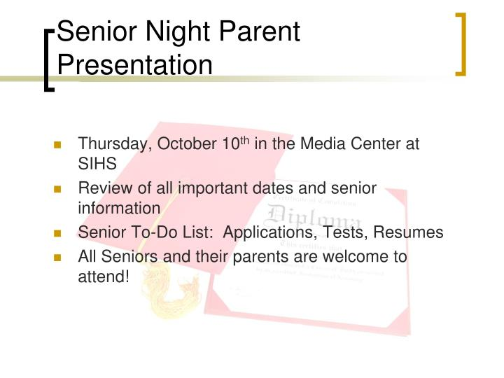 Senior night parent presentation