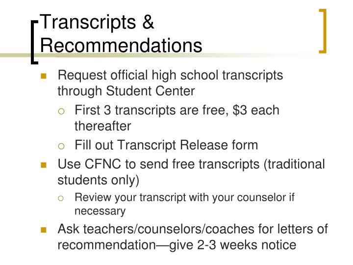 Transcripts & Recommendations
