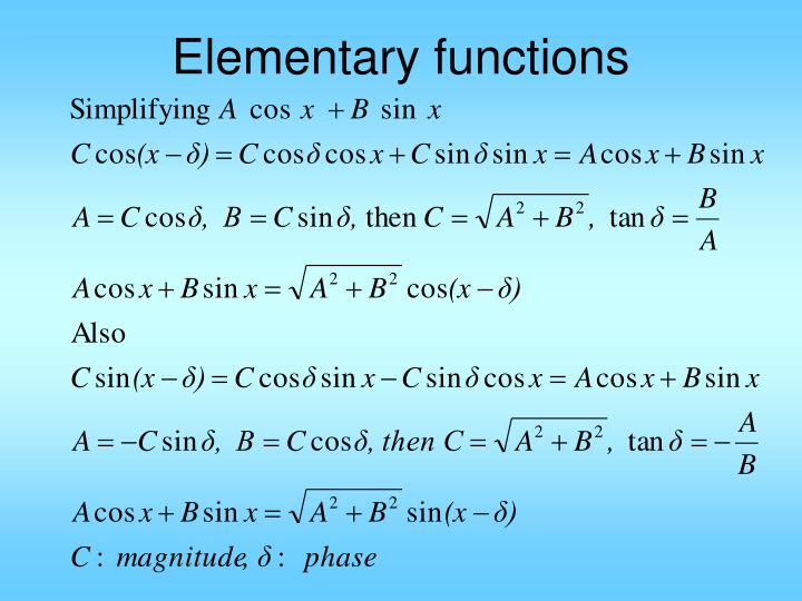 Elementary functions