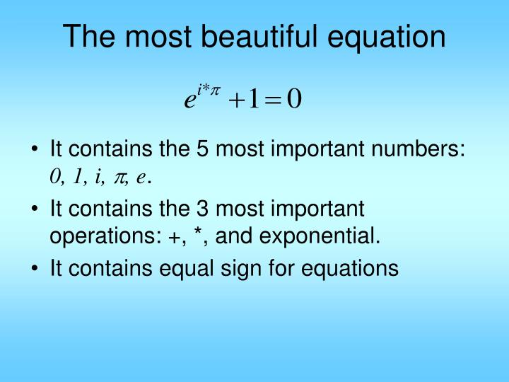 The most beautiful equation