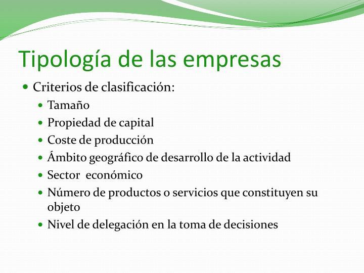 Tipología de las empresas